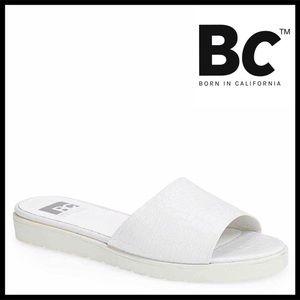 BC FOOTWEAR SANDALS Croc Embossed Mules Slides